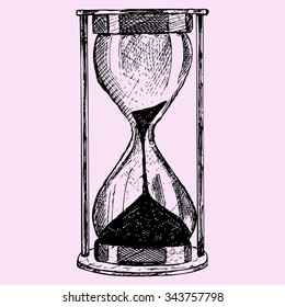 hourglass, doodle style, sketch illustration, hand drawn, raster