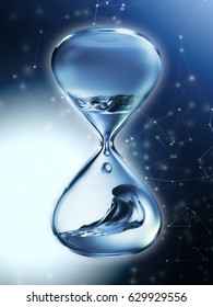 Hourglass with dripping water close-up. Blue background. 3d rendering