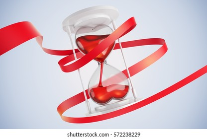 Hourglass in the form of hearts. Entwine red ribbon. 3d render. concept