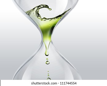 hourglass with green dripping water close-up