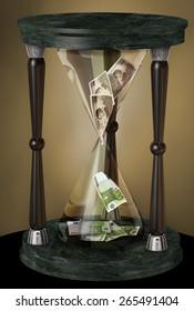 Hourglass with hundred pesetas bills that become hundred euro bills. 3d illustration