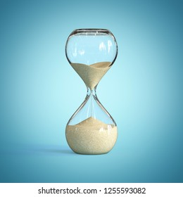 Hourglass on blue background, sandglass 3d rendering