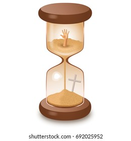 Hourglass sandglass isolated on white vector illustration