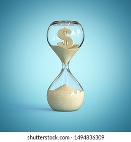 Hourglass, sandglass, sand timer, sand clock with dollar sign sh 3d rendering