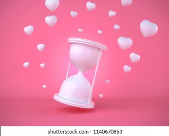 Hourglass surrounded by flying hearts on a pink background. 3D render