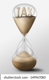 Hourglass with Tax word made of sand inside the clock. Business concept