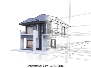 house 3D illustration isolate