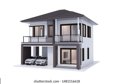 house 3d illustration with white car isolate on white background.