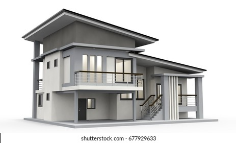House 3d rendering of a luxurious villa contrasting with a technical draft part