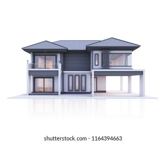 house 3d White isolate front view
