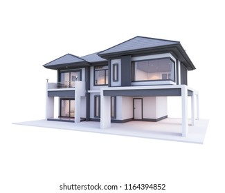 house 3d White isolate side view