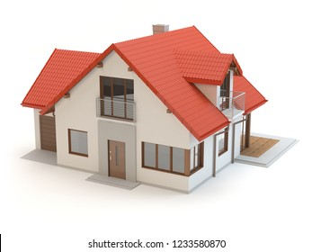House 6a - white background, 3D illustration