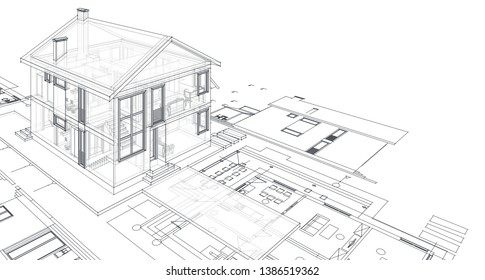 house, architectural project, sketch, 3d illustration