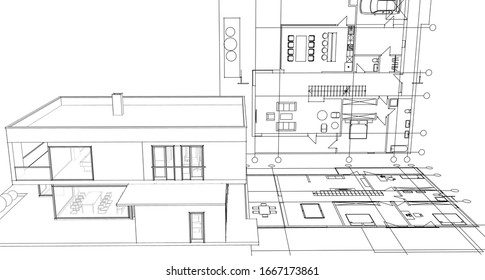 house architectural project sketch 3d illustration