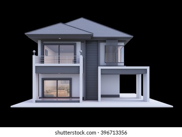 house architecture 3D rendering isolate