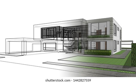 House architecture drawings 3d illustration