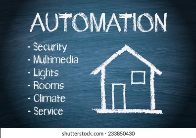 House Automation - blue chalkboard with home and text