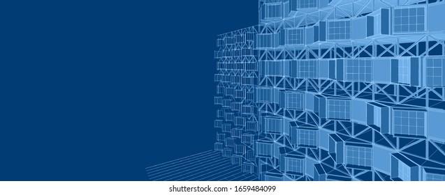 house blocks concept 3d illustration