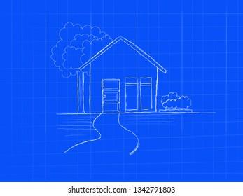 house blueprint concept doodle art hand sketch - image