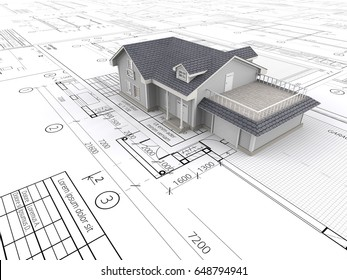 House and Blueprints. Top perspective View of a House on top of large set of Blueprints. 3D render.