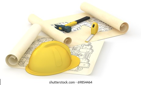 House blueprints and Yellow Hard  Hat