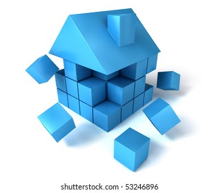 A house build of blocks and cubes, falling apart.