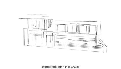 house building architecture 3d illustration