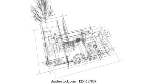 House building architecture concept sketch 3d illustration