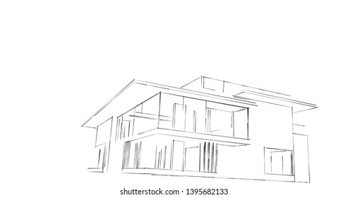 House building architecture concept sketch 3d illustration