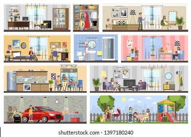 House building interior plan with the garage. Home with kitchen and bathroom, bedroom and living room. Barbeque on the backyard.  flat illustration