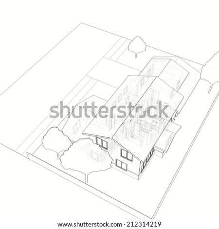 House Building Sketch Stock Illustration