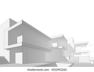 house building sketch architecture 3d illustration