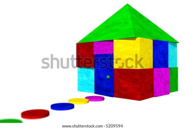 House built out of colorful blocks