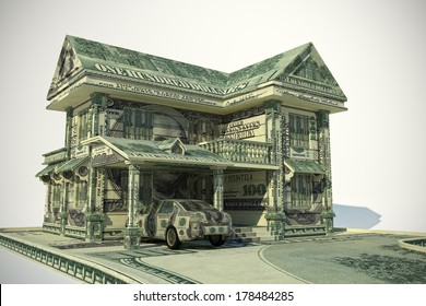 House and car made from United States one hundred-dollar bill