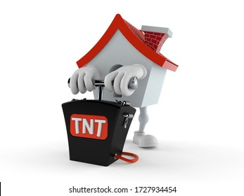 House character with bomb detonator isolated on white background. 3d illustration