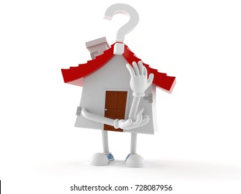 House character with question mark isolated on white background. 3d illustration