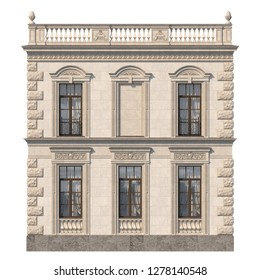 House in a classic style with a stone fasade in beige tones and niche. 3d rendering
