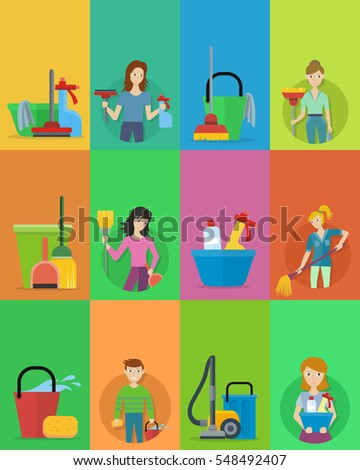 house cleaning service professional office cleaning in flat vertical website template