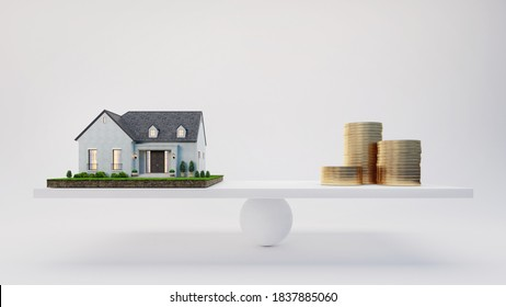 House and coins on scale.White background.Buying a house.Sale and purchase concept for real estate or property investment advertising.3d rendering
