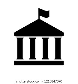 House with columns and flag icon. Building of government, embassy, official institution or establishment with flying banner