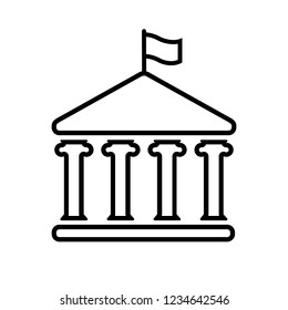 House with columns and flag line icon. Building of government, embassy, official institution or establishment with flying banner