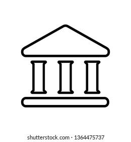 House with columns line icon. Building of bank, government, court house, educational or cultural establishment with classic Greek columns