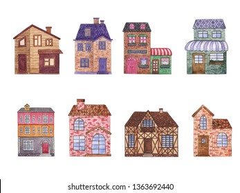 House, cottage with lawn isolated on white background. Home Sweet Home. Watercolor illustration of the house. Apartament. Architecture. House.