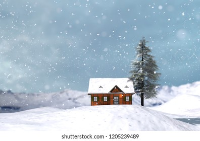 House or cottage in winter for christmas,3d illustration