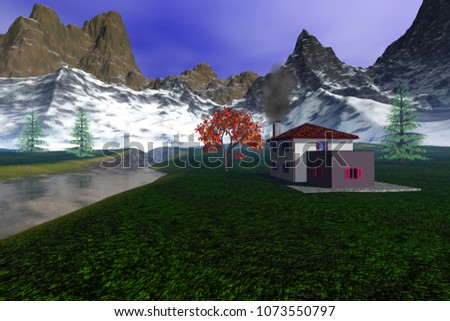 House in the countryside, 3D rendering, an alpine landscape, coniferous trees, river, snowy mountains and a blue sky.
