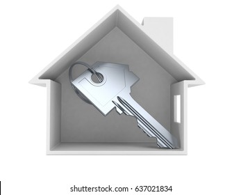 House cross-section with door key isolated on white background. 3d illustration