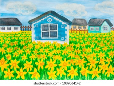 House with daffodils