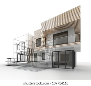 House design progress, architecture drawing and visualization