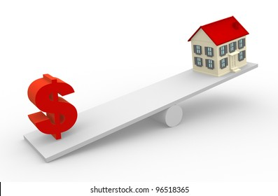 A house and dollar sign in the balance. 3d render