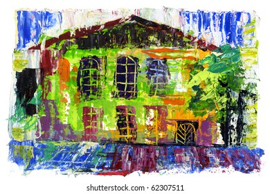 The house drawn by paints